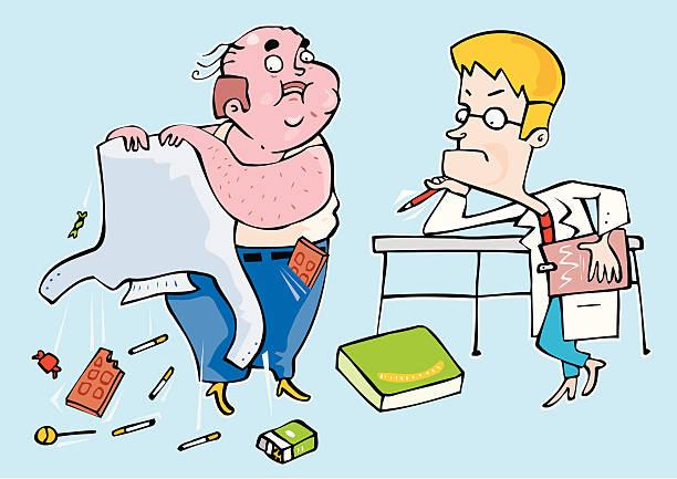 Medico preocupado observando a un paciente obeso Medico preocupado observando a un paciente obeso. El paciente tiene los bolsillos llenos de golosinas, chocolate, tabaco, etc. medico stock illustrations