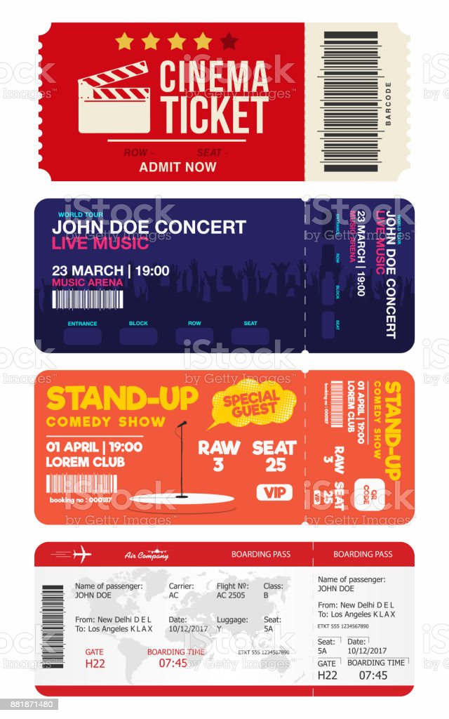 Concert and stand up comedy show tickets. Cinema ticket and airplane boarding pass. Big set of tickets templates