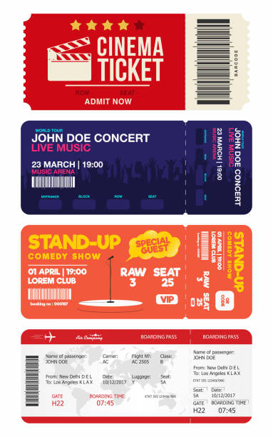 concert and stand up comedy show tickets. cinema ticket and airplane boarding pass. big set of tickets templates - tickets and vouchers templates stock illustrations