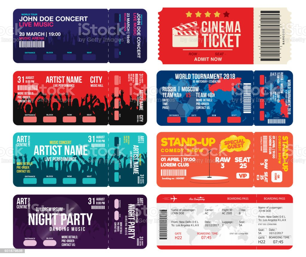 Concert, cinema, airline and football ticket templates. Collection of tickets mock up for entrance to different events. Creative tickets isolated on white background vector art illustration