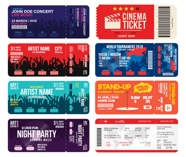 concert, cinema, airline and football ticket templates. collection of tickets mock up for entrance to different events. creative tickets isolated on white background - tickets and vouchers templates stock illustrations