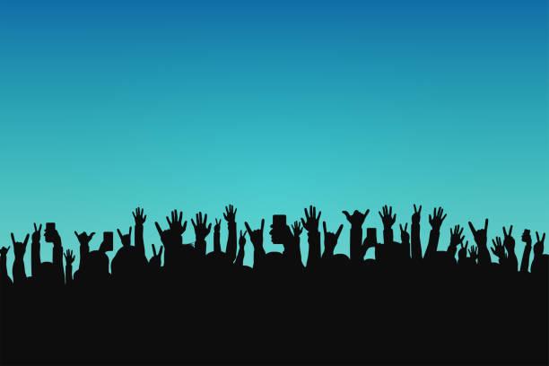 Foule de concert, des silhouettes de personnes. Mains avec des gestes différents et smartphones en mains surélevées. Concert événement - Illustration vectorielle
