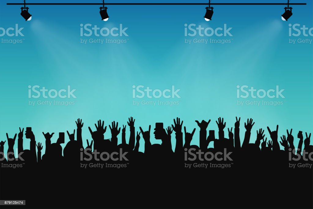 Concert crowd, people silhouettes. Hands with different gestures and smartphones in raised hands. Spotlights on stage vector art illustration