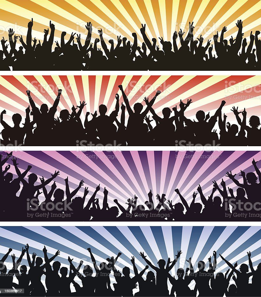 Concert crowds vector art illustration