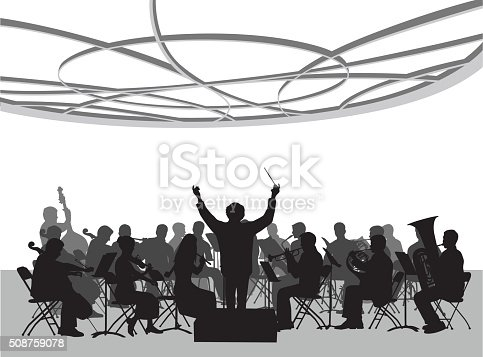 A vector silhouette illustration of an orchestra performing in a concert hall below an ornate roofing design.  A conductor has his arms raised with a baton.