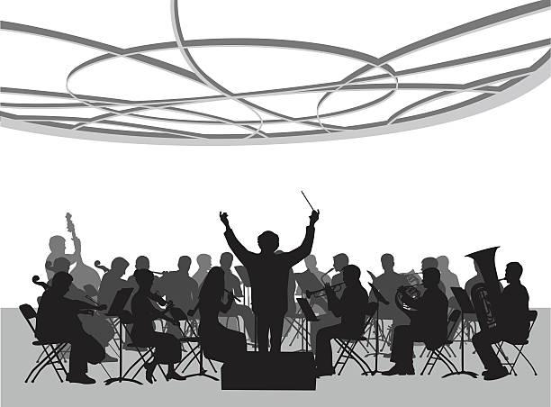 bildbanksillustrationer, clip art samt tecknat material och ikoner med concert hall orchestra illustration - orkester