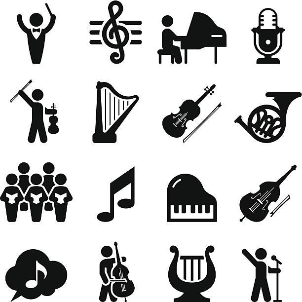 konzert-icons-schwarz-serie - musiksymbole stock-grafiken, -clipart, -cartoons und -symbole