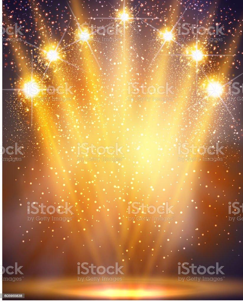 Concert lights vector art illustration