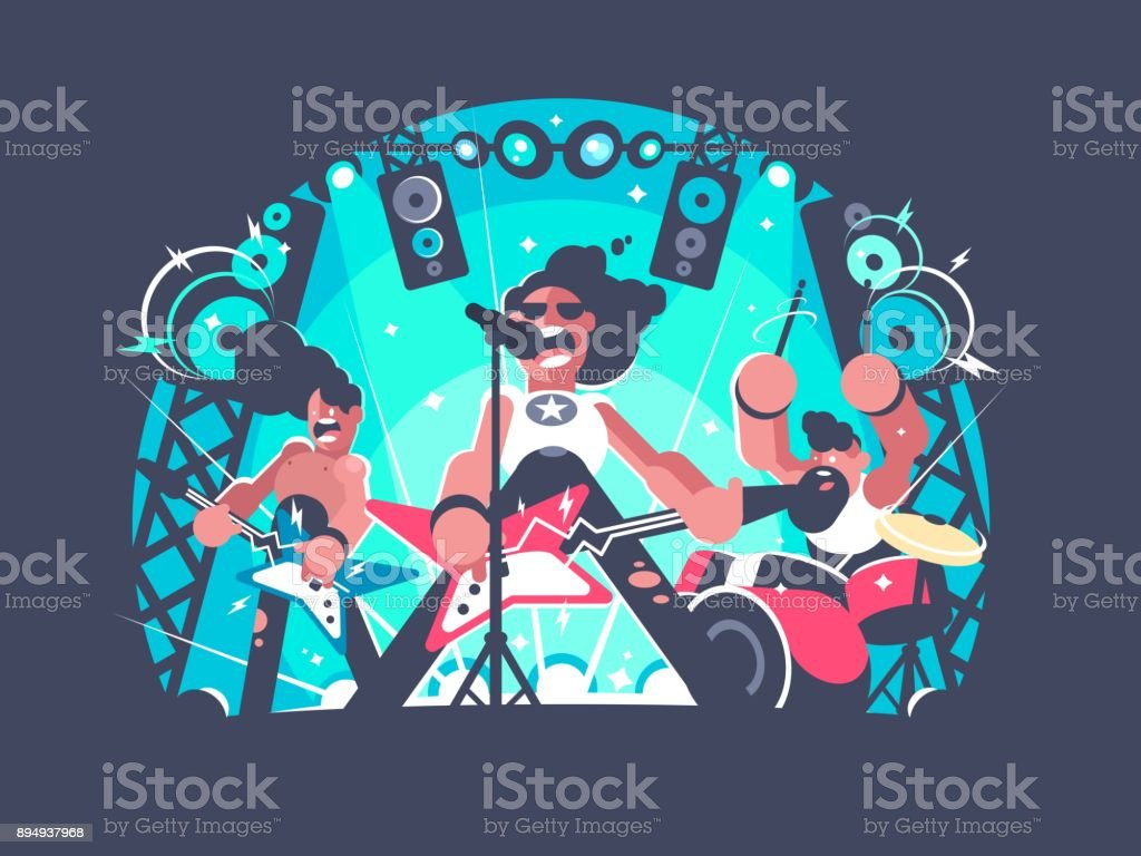 Concert of rock band vector art illustration