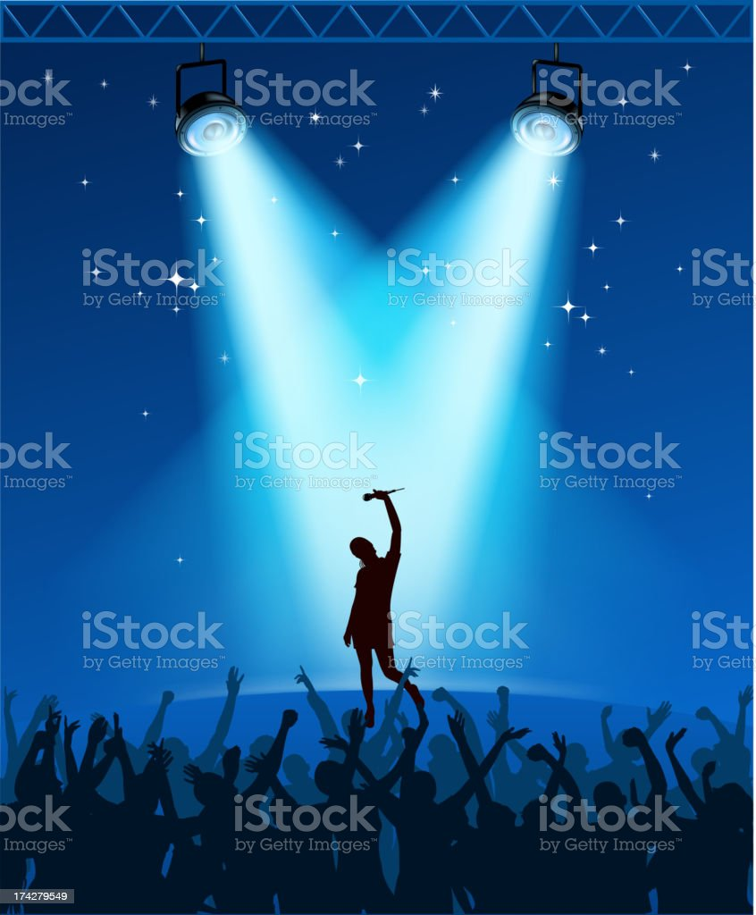 concert on crowded vector art illustration