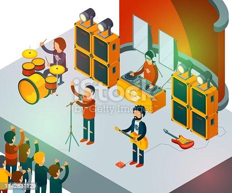 Concert scene. Isometric rock band singing people entertainment crowd vector concept. Rock band on scene, musician singer illustration