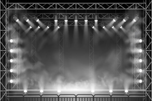 concert scene - rock n roll stock illustrations, clip art, cartoons, & icons