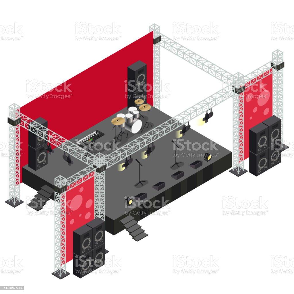 Concert Stage in Isometric Illustration vector art illustration