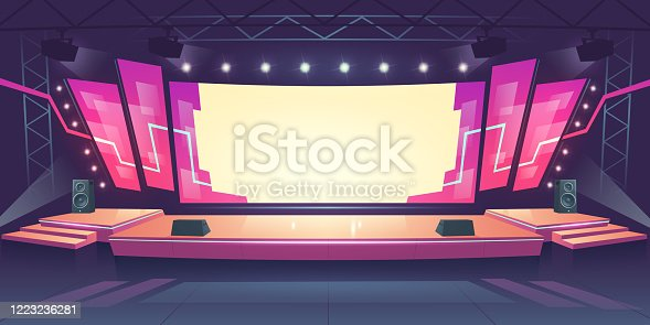istock Concert stage with screen and spotlights 1223236281