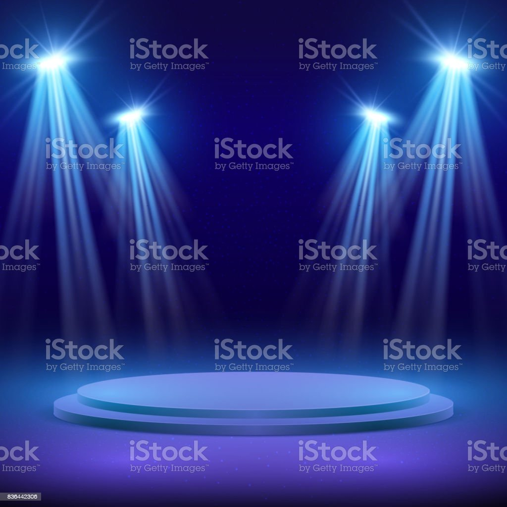 Concert Stage With Spot Light Lighting Show Performance Vector Background Royalty Free