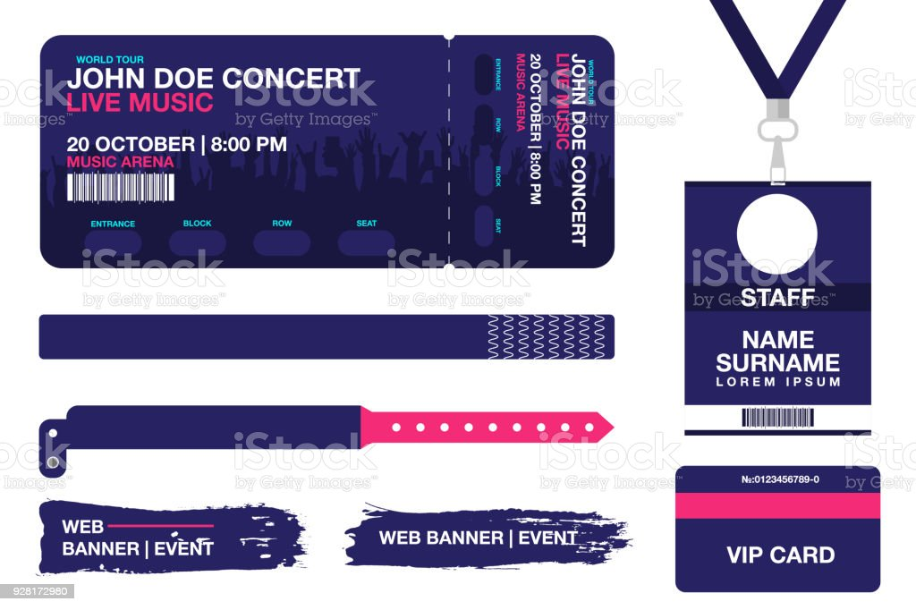 concert ticket bracelets lanyards identification card for access