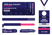 Concert ticket, bracelets, lanyards, identification card for access control to event. Festival wristband, web banners for event advertising. Vector
