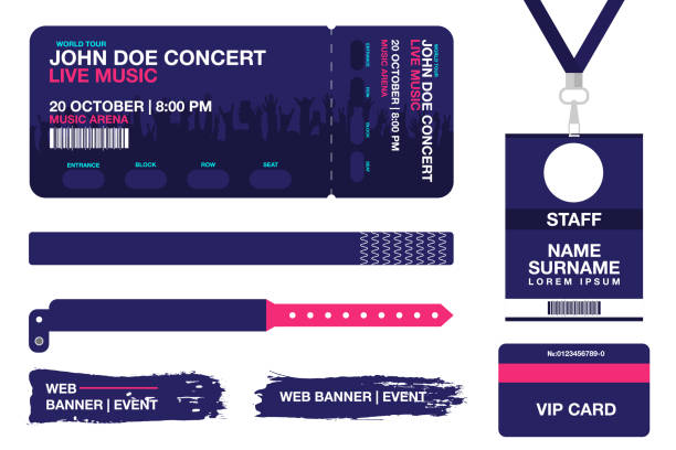 concert ticket, bracelets, lanyards, identification card for access control to event. festival wristband, web banners for event advertising - tickets and vouchers templates stock illustrations