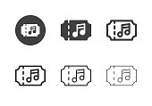 Concert Ticket Icons Multi Series Vector EPS File.