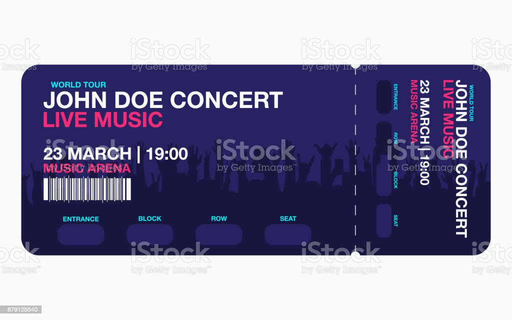 Concert ticket template. Concert, party or festival ticket design template with people crowd on background vector art illustration