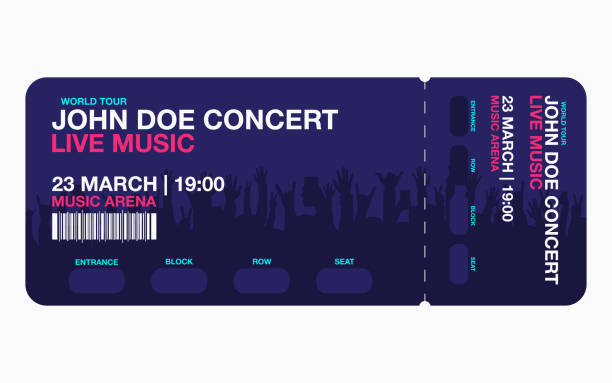 concert ticket template. concert, party or festival ticket design template with people crowd on background - tickets and vouchers templates stock illustrations