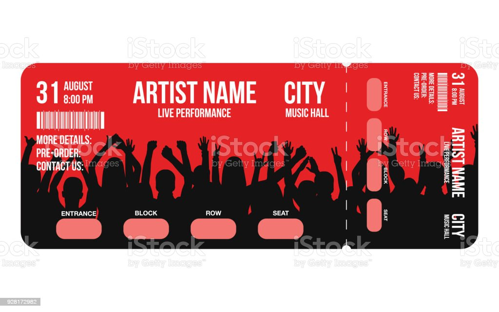 Concert Ticket Template Concert Party Or Festival Ticket Design ...