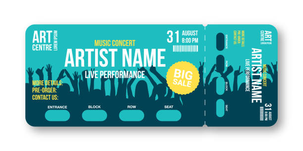 Concert ticket template Concert ticket template. Concert, party, disco or festival ticket design template with people crowd on background. Entrance to the event. Vector admit one stock illustrations