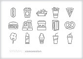 Set of 15 school or sporting event concession stand line icon set of snacks including hot dog, popcorn, nachos, french fries, pizza, hamburger, pretzel, cotton candy, chocolate, soft drink, soda, soft serve ice cream, napkins, cash register
