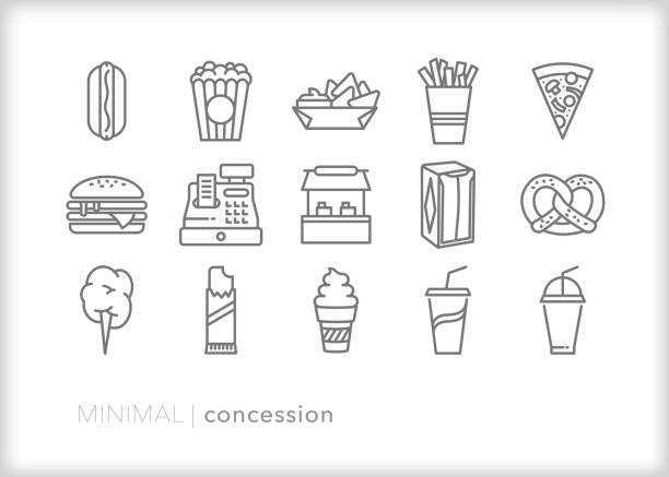Concession stand icon set for selling snacks and drinks at an event Set of 15 school or sporting event concession stand line icon set of snacks including hot dog, popcorn, nachos, french fries, pizza, hamburger, pretzel, cotton candy, chocolate, soft drink, soda, soft serve ice cream, napkins, cash register popcorn stock illustrations