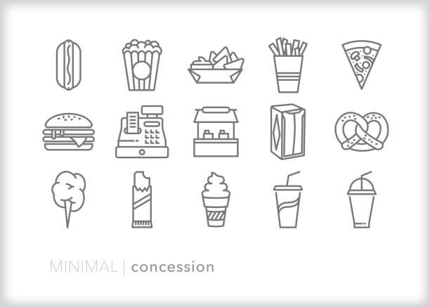 ilustrações, clipart, desenhos animados e ícones de ícone do carrinho da concessão ajustado para vender petiscos e bebidas em um evento - pipoca