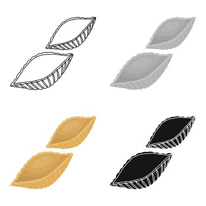 Conchiglie 흰색 배경에 고립 된 만화 스타일의 파스타 아이콘 파스타 기호 주식의 종류 웹 일러스트 벡터 0명에 대한 스톡 벡터 아트 및 기타 이미지
