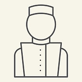 istock Concierge thin line icon. Hotel porter symbol, outline style pictogram on beige background. Bellboy in uniform sign for mobile concept and web design. Vector graphics. 1223191851