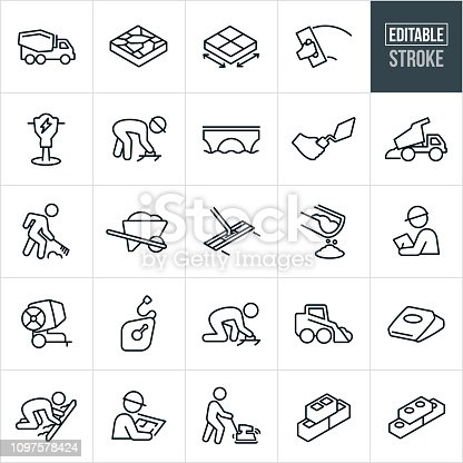 A set of concrete or cement icons that include editable strokes or outlines using the EPS vector file. The icons include a cement truck, cement, concrete, cement work, cement tools, jack hammer, blue collar worker, construction worker, bridge, trowel, dump truck, wheel barrow, bull float, manager, boss, cement mixer, chalk line, workers, workers working, cement bag, screed board, blue prints, ground compactor, cinder blocks and bricks to name a few.