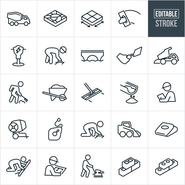 beton und zement linie symbole - editierbare schlaganfall - beton stock-grafiken, -clipart, -cartoons und -symbole