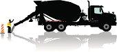 """Concrete Cement Truck. Tight vector silhouette illustration of a Cement Truck for the construction industry. Check out my """"Construction Vector"""" light box for more."""