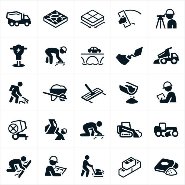 konkrete icons - beton stock-grafiken, -clipart, -cartoons und -symbole