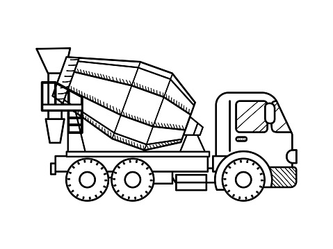 Concrete mixer truck. Black and white. Construction machinery