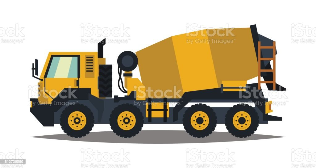 Concrete Mixer Yellow Truck With Special Equipment Isolated