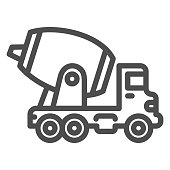 Concrete mixing truck line icon, heavy equipment concept, Construction machine sign on white background, concrete mixer icon in outline style for mobile concept, web design. Vector graphics