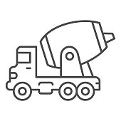 Concrete mixing truck thin line icon, heavy equipment concept, Construction machine sign on white background, concrete mixer icon in outline style for mobile concept, web design. Vector graphics