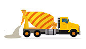 Concrete mixing truck vector. Flat design. Industrial transport. Construction machine. Yellow lorry with mixer pour out cement. For construction theme illustrating, building companies ad. On white
