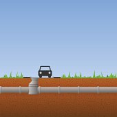 System of concrete pipes under the ground with grass and blue sky. EPS version 10 with transparency included in download.