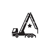 Concrete pump truck silhouettes icon. Looks like a letter A.