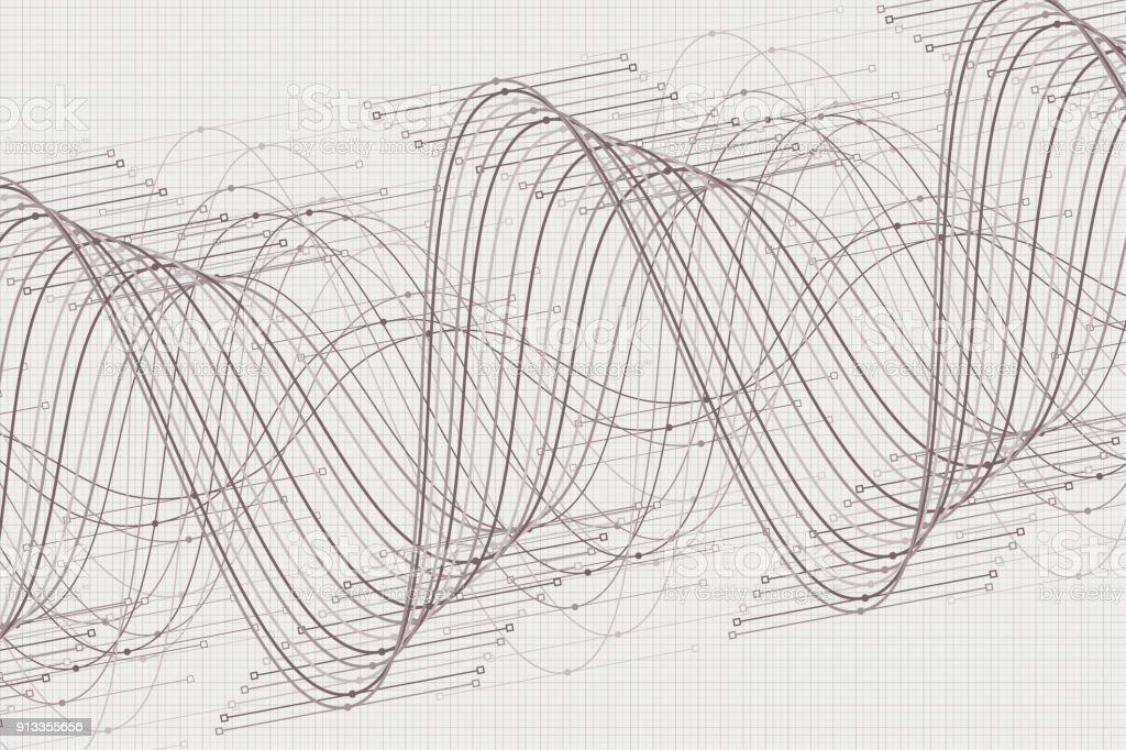 Concrete Vector Sine Wave Graph Pattern Horizontal vector art illustration