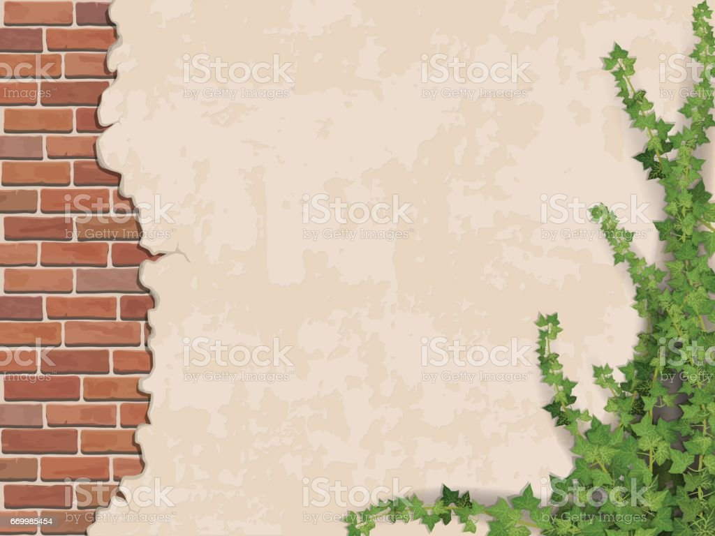 concrete wall ivy and brick vector art illustration