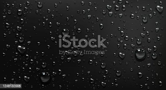 istock Condensation water drops on black glass background 1248132005