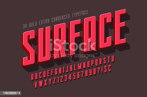 Condensed 3d display font design, alphabet, letters and numbers. Swatch color control