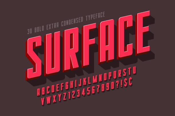 압축 된 3d 디스플레이 글꼴 디자인, 알파벳, 편지 - 입방체 stock illustrations