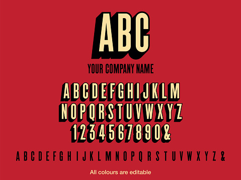 Condensed bold text style font with drop shadow for your company logo. Vector stock illustration. Colours easily editable.