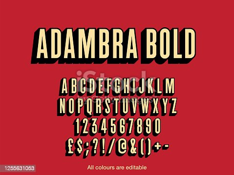 Bold character style long shadow font design, alphabet letters and numbers, vector illustration